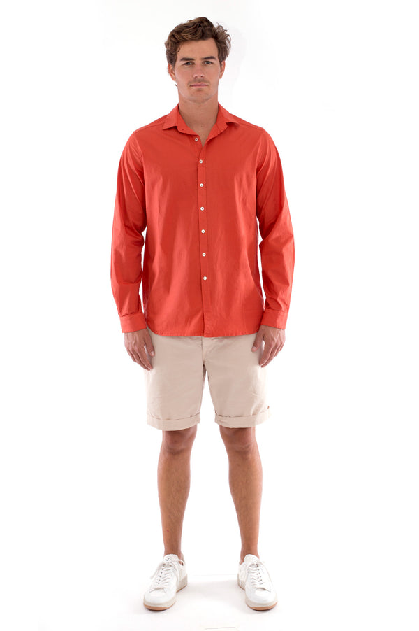 Phoenix - Shirt - Slim Fit - Colour Terracotta and Raven Shorts - Colour Sand 1