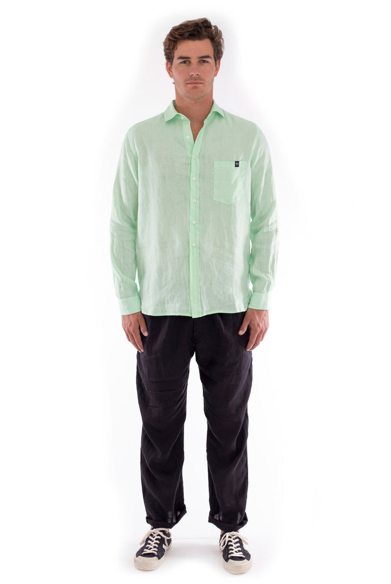 James - Linen Shirt - Mint and Positano Pants - Colour Black 5