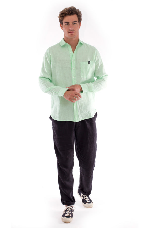 James - Linen Shirt - Mint and Positano Pants - Colour Black 1