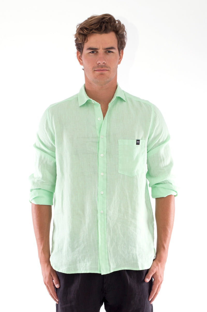 James - Linen Shirt - Mint and Positano Pants - Colour Black 2