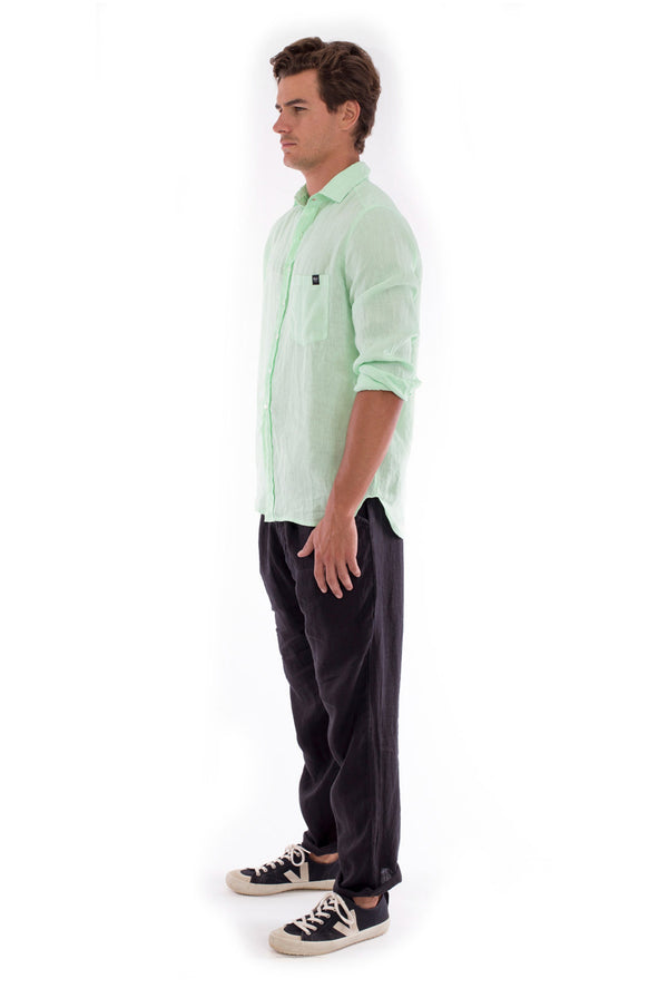 Positano - Linen Pants - Colour Black and James Shirt - Colour Mint