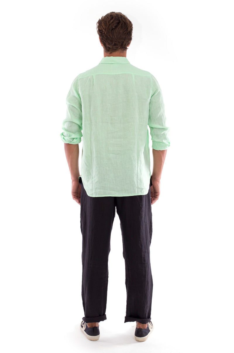 James - Linen Shirt - Mint and Positano Pants - Colour Black 4