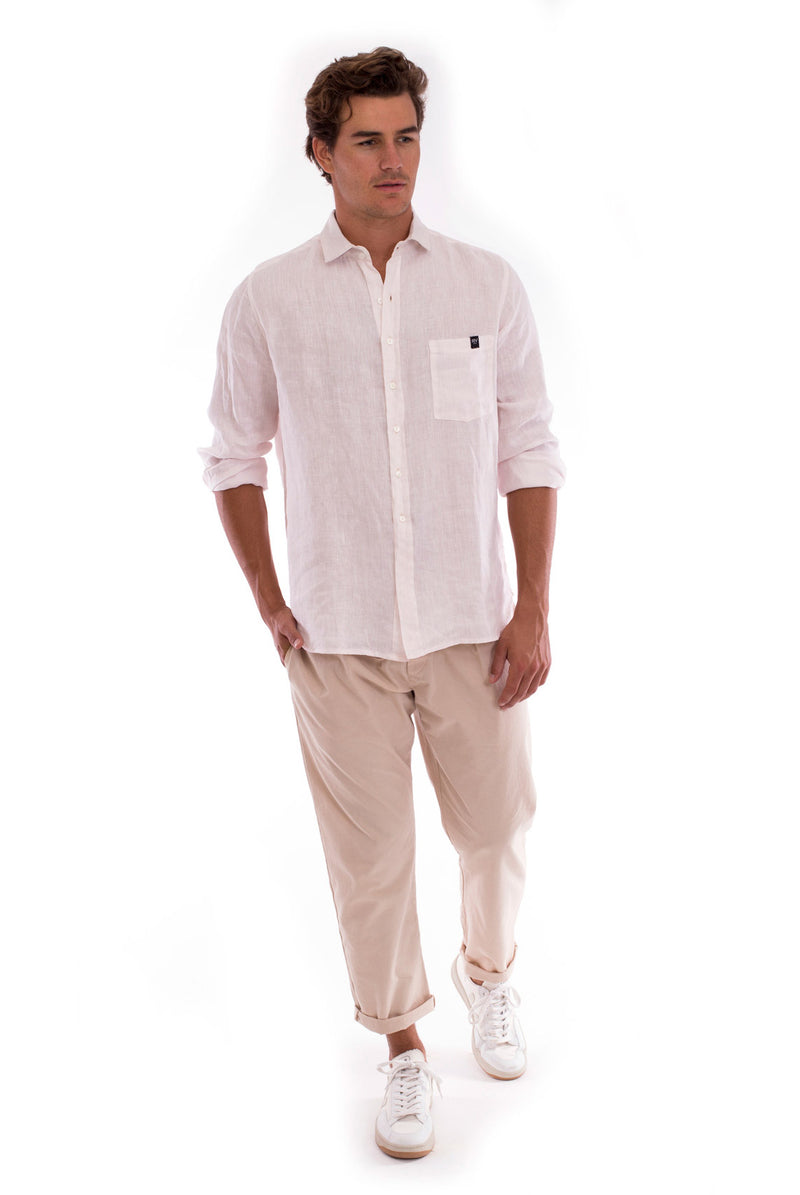 James - Shirt - Colour Rose and Monaco Pants - Colour Sand 1