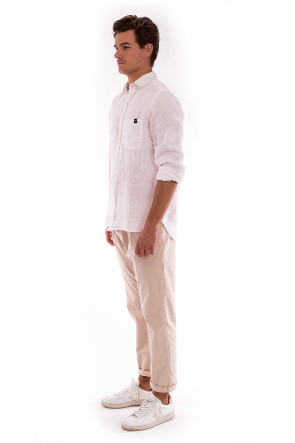 Monaco Pants - Draw Cord Waist - Colour Sand and James Shirt - Colour Rose