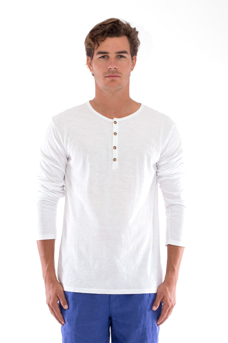 Dylan tee - Tshirt - Long Sleeve - Buttoned Neck - Colour White and Capri Shorts - Colour Blue 2