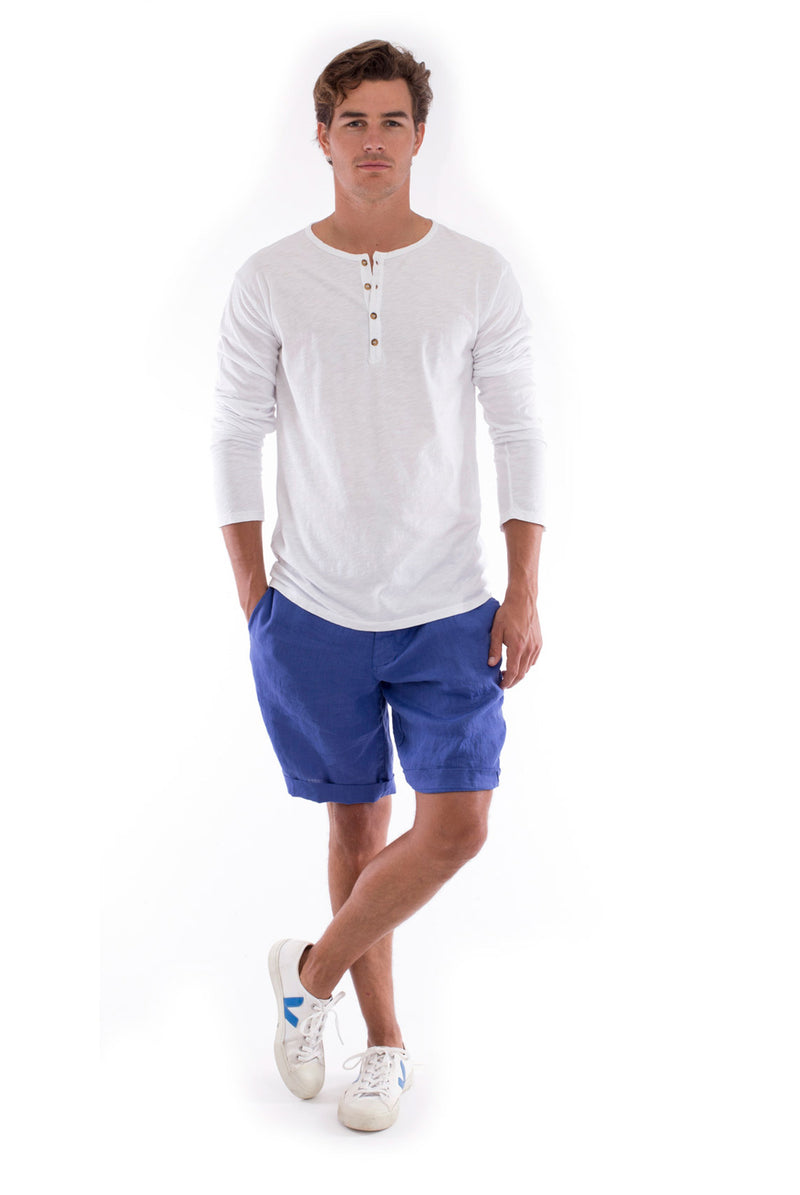 Dylan tee - Tshirt - Long Sleeve - Buttoned Neck - Colour White and Capri Shorts - Colour Blue 1