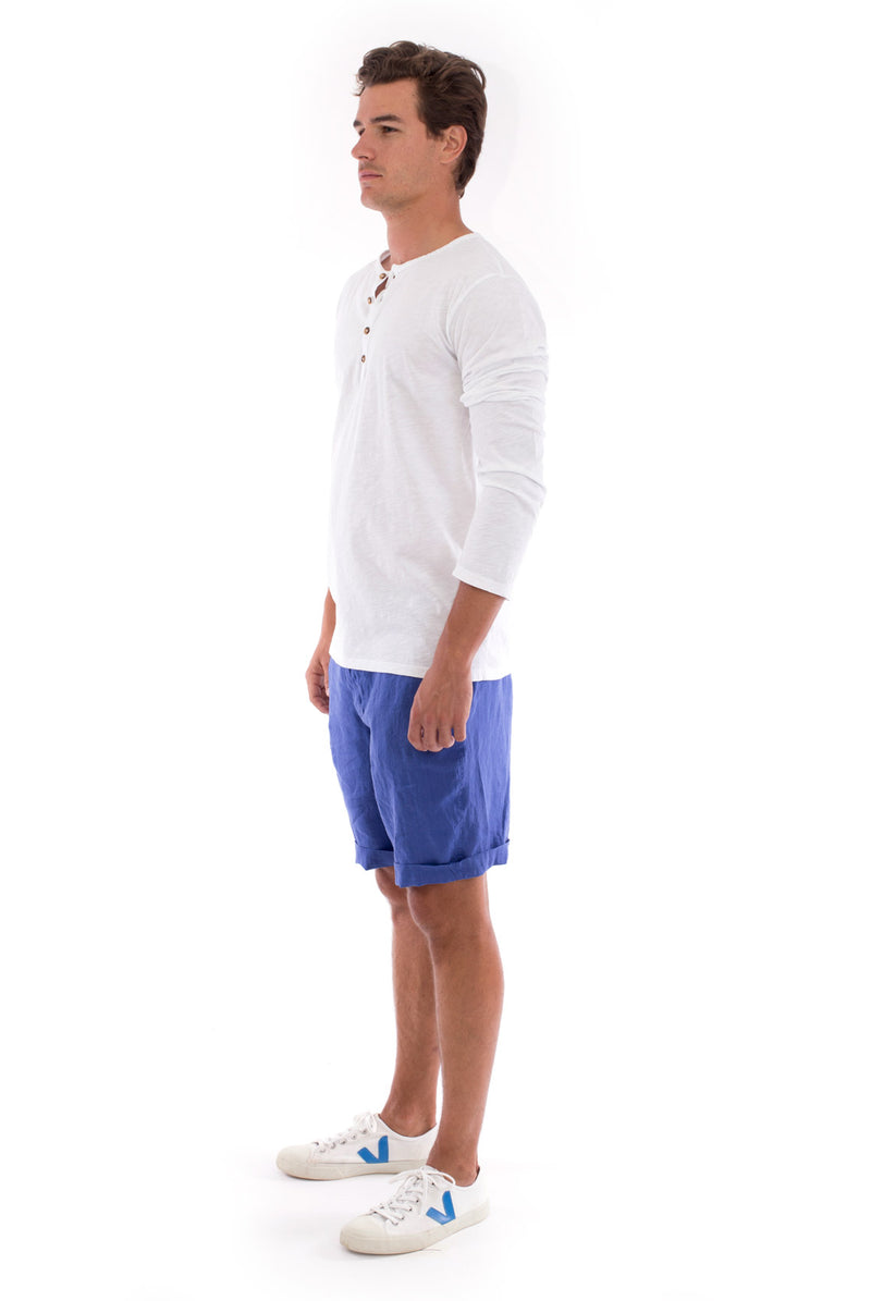 Dylan tee - Tshirt - Long Sleeve - Buttoned Neck - Colour White and Capri Shorts - Colour Blue 3