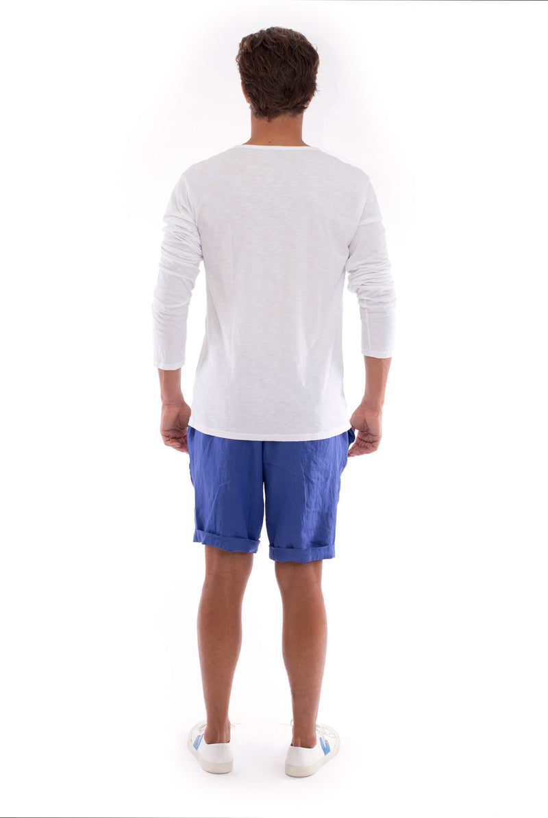 Dylan tee - Tshirt - Long Sleeve - Buttoned Neck - Colour White and Capri Shorts - Colour Blue 4