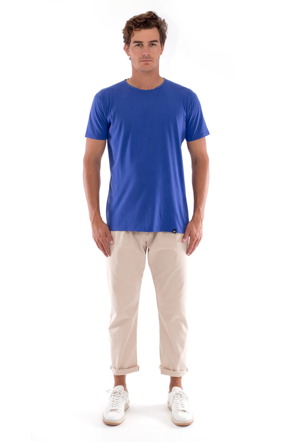 Azur basic tee - Round Neck - Tshirt - Colour Blue and Monaco Pants - Colour Sand 1