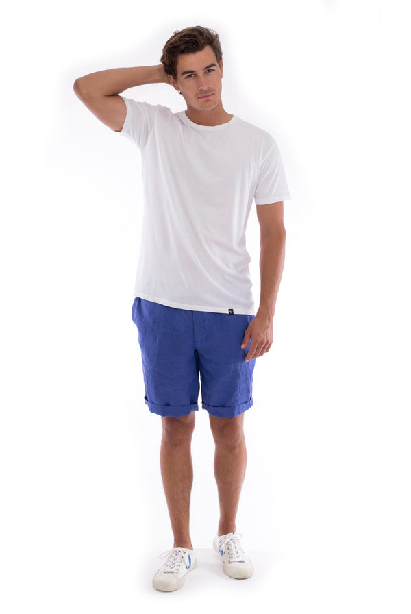 Azur basic tee - Round Neck - Tshirt - Colour Blue and Capri shorts - Colour Blue 1