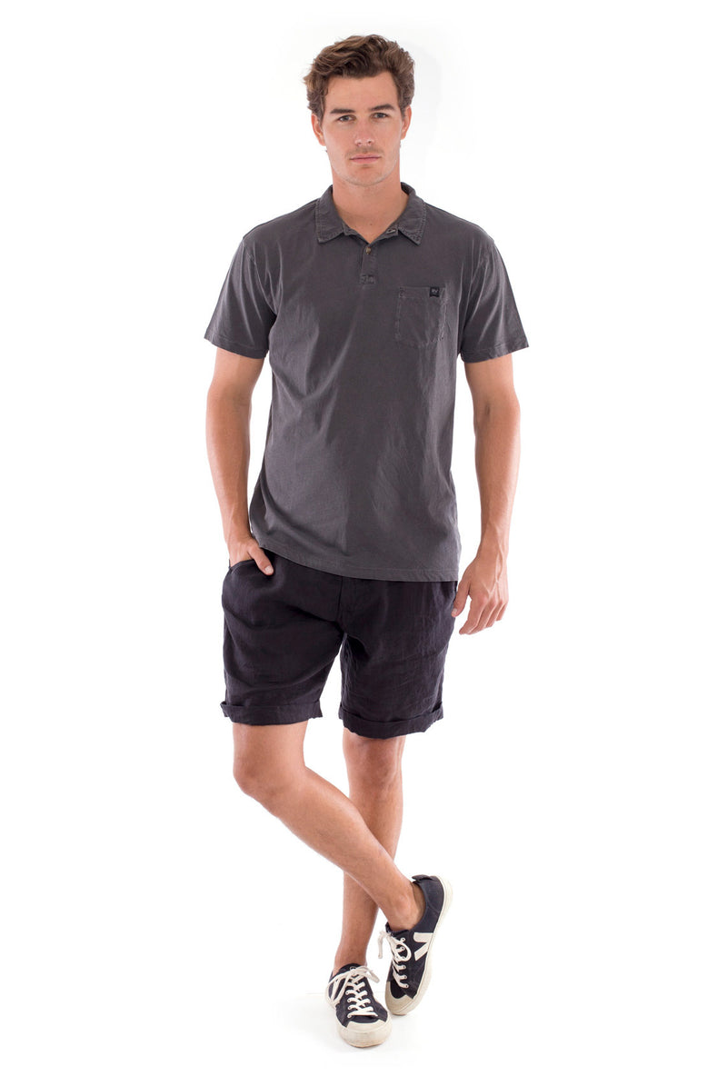 Polo with pocket - Colour Anthracite and Capri Shorts - Colour Black 1