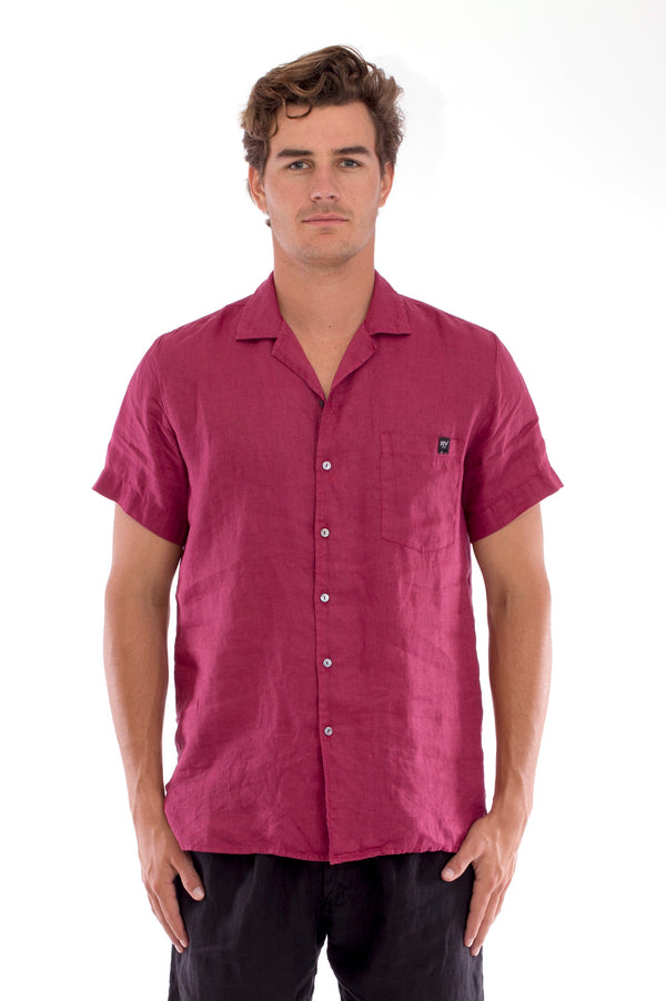 Marlon - Short Sleeve - Linen Shirt - Colour Garnet and Positano Pants - Colour Black 2