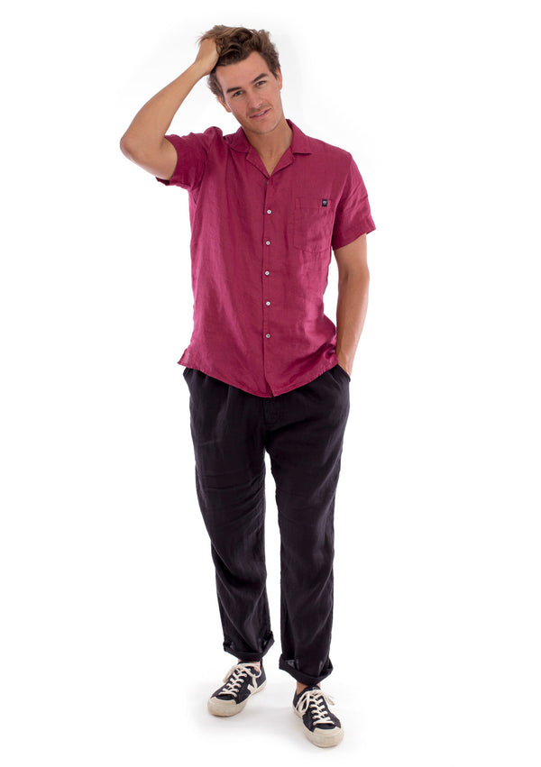 Marlon - Short Sleeve - Linen Shirt - Colour Garnet and Positano Pants - Colour Black 1