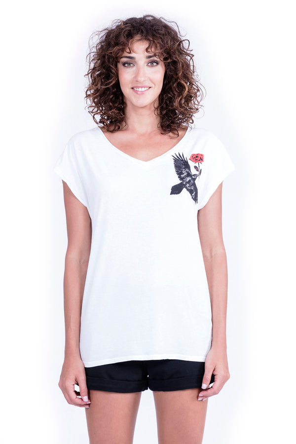 Raven & Rose - V Neck - Loose Fit - Top - Colour White - Ravens View - 2