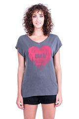 Wild Heart - V Neck - Loose Fit - Top - Colour Antracite - Ravens View - 2