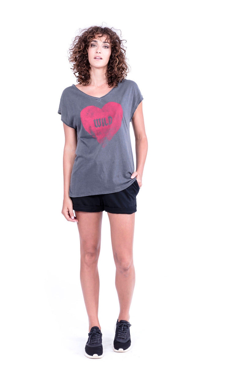Wild Heart - V Neck - Loose Fit - Top - Colour Antracite - Ravens View - 1