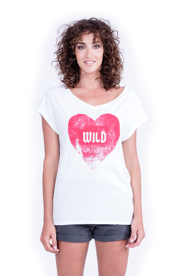 Wild Heart - V Neck - Loose Fit - Top - Colour White - Ravens View - 2