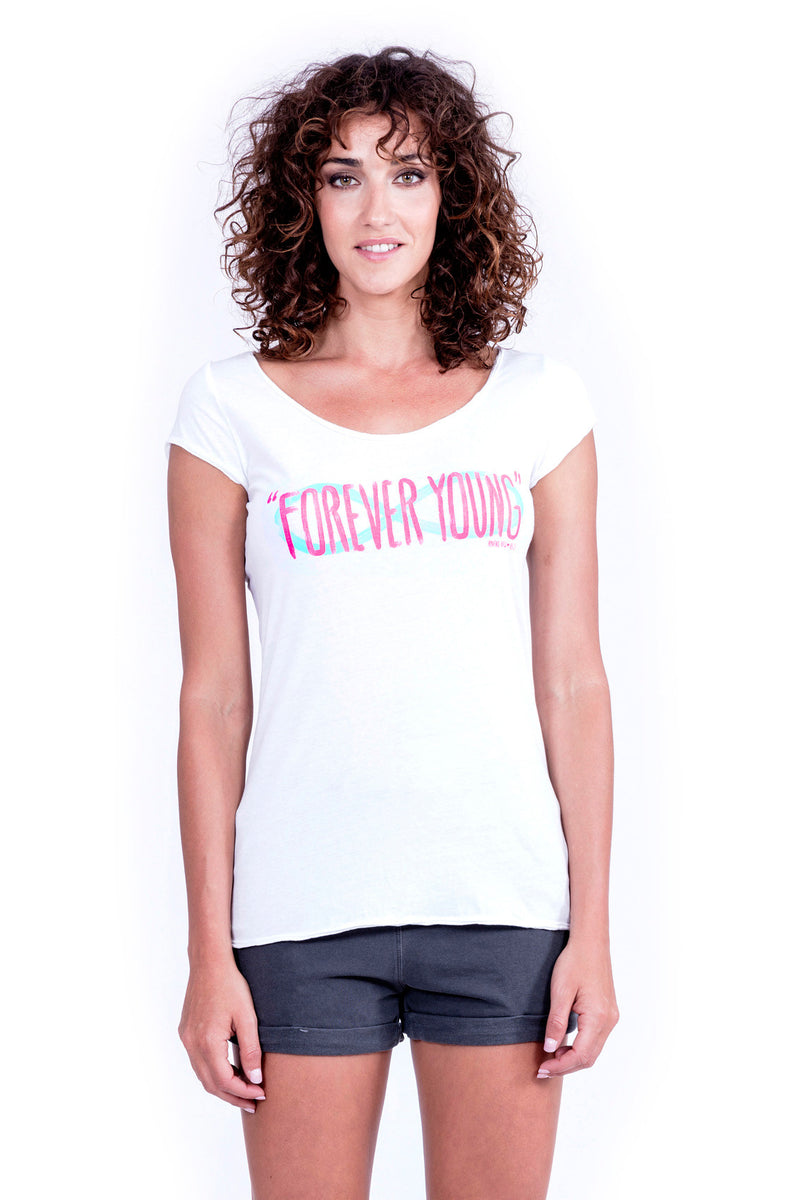 Forever Young - Top - boyfriend tee - Colour White and Short Pants - Colour Antracite - Ravens View - 2