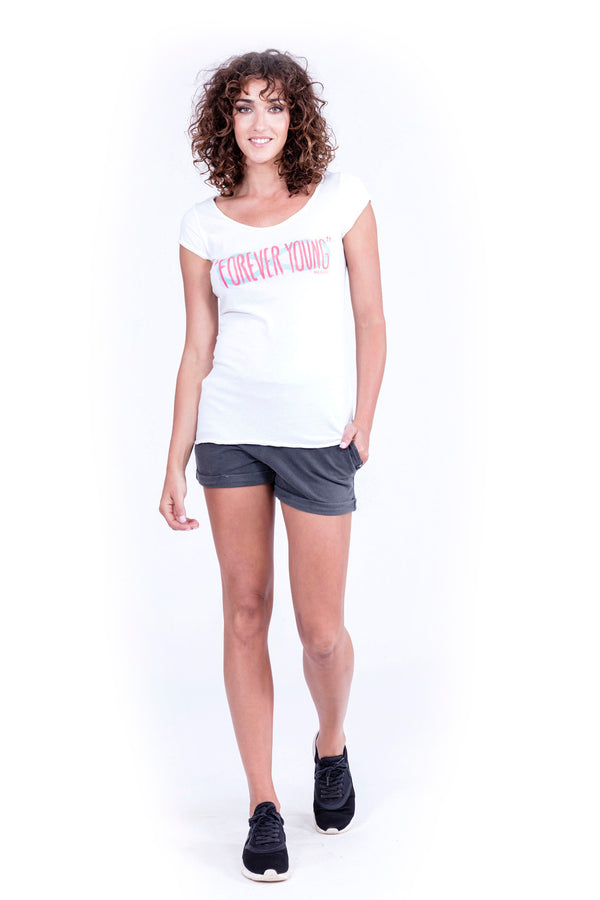 Forever Young - Top - boyfriend tee - Colour White and Short Pants - Colour Antracite - Ravens View - 1