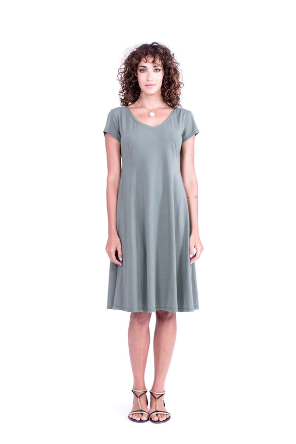 Roma - Midi Dress - Colour Khaki - RV by Elisa F 1