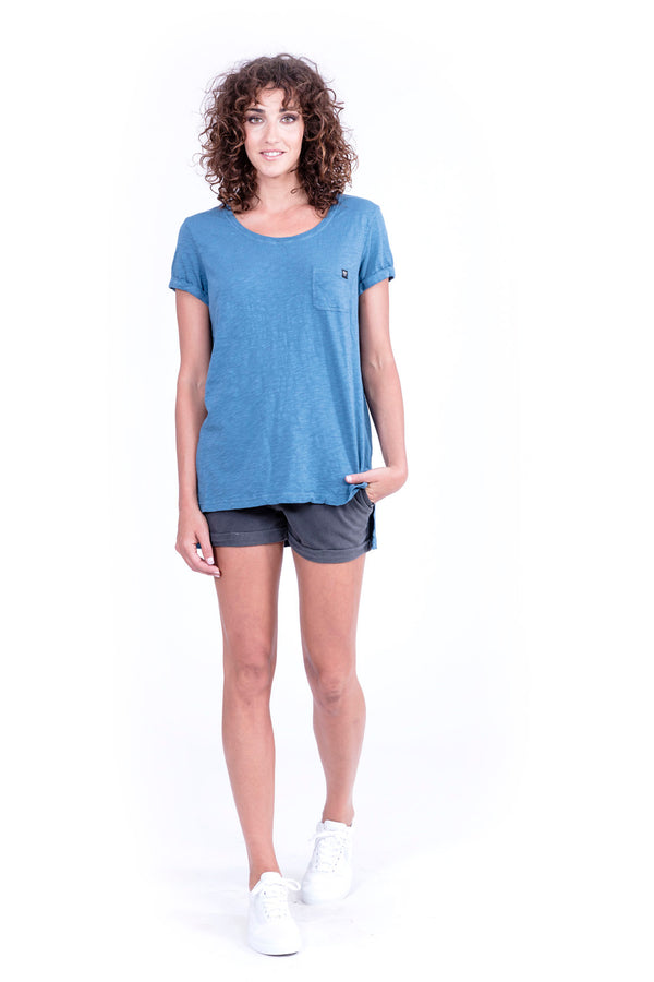 Top - Round Neck with Pocket - Colour Blue - 1