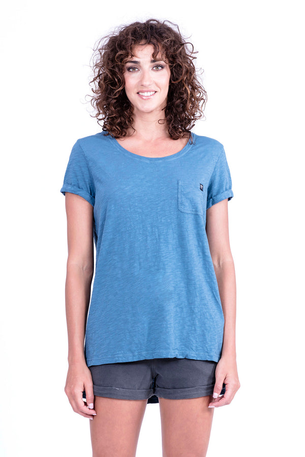 Top - Round Neck with Pocket - Colour Blue - 2