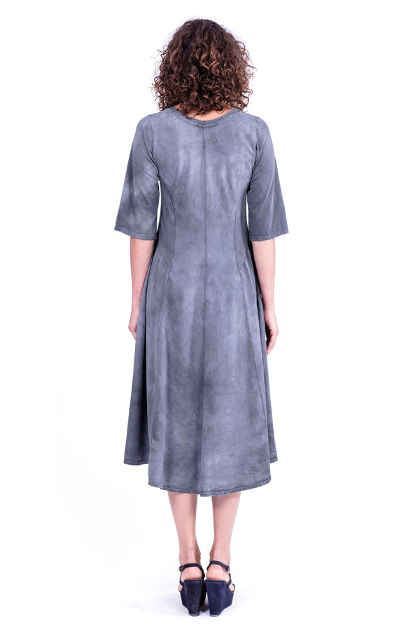 Zip - Long Sleeve - Midi Dress - Colour Antracite - RV by Elisa F 2
