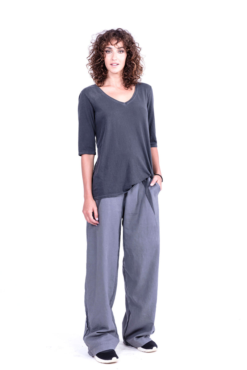 Lima - Linen pants - Colour Antracite and top mona - Colour Antracite - RV by Elisa F 1