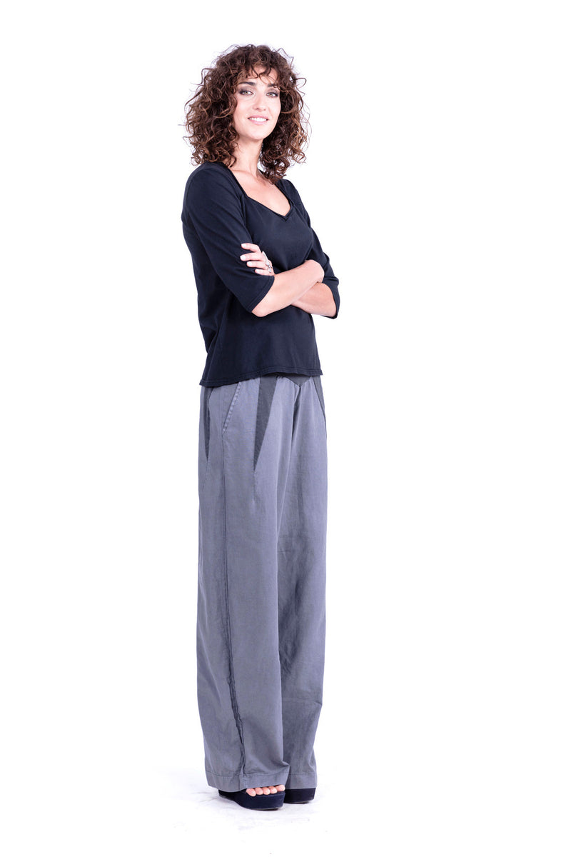 Lima - Linen pants - Colour Antracite and 40 Top chic2 - Colour Black - RV by Elisa F 1