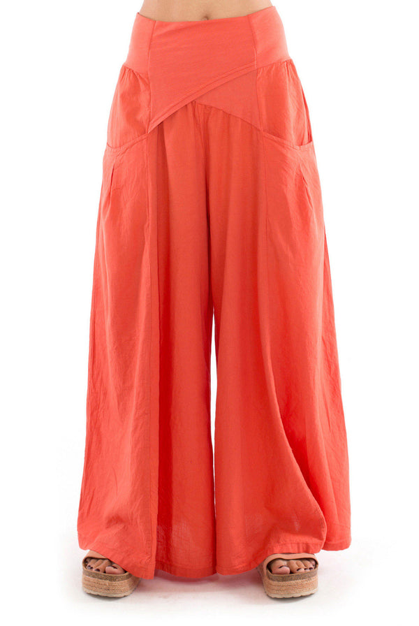 Mona - Wide Leg Pants - Colour Terracotta - RV by Elisa F-1