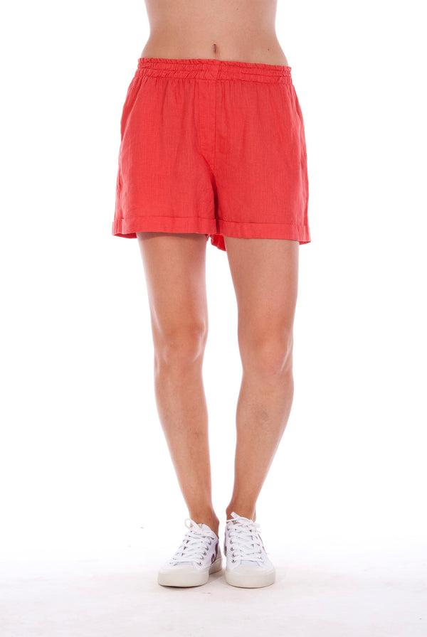 Creta - Linen Shorts - RV by Elisa F - Colour Red 1