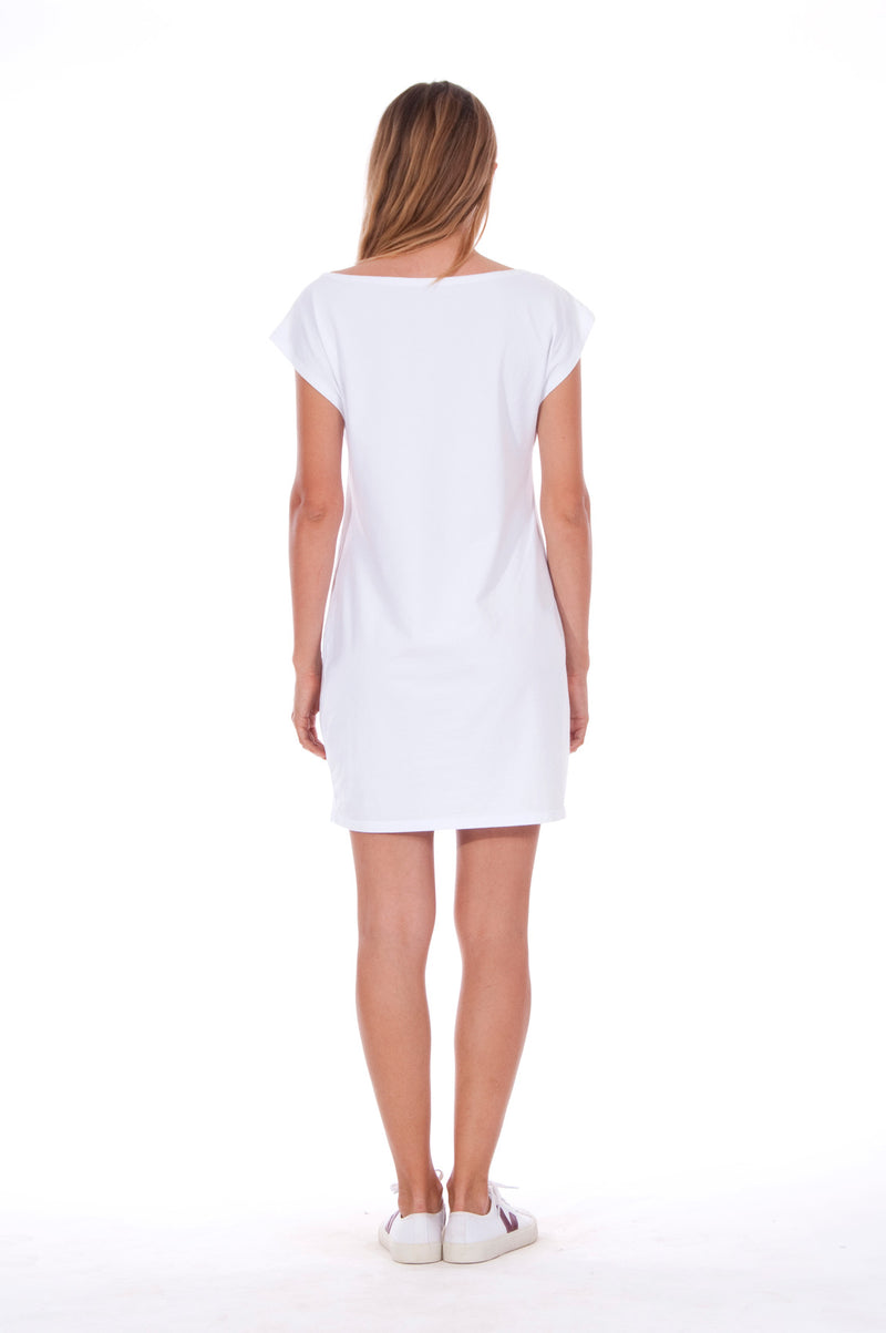 Island Mood - Loose Fit - Boat Neck - Dress - Colour White - 5