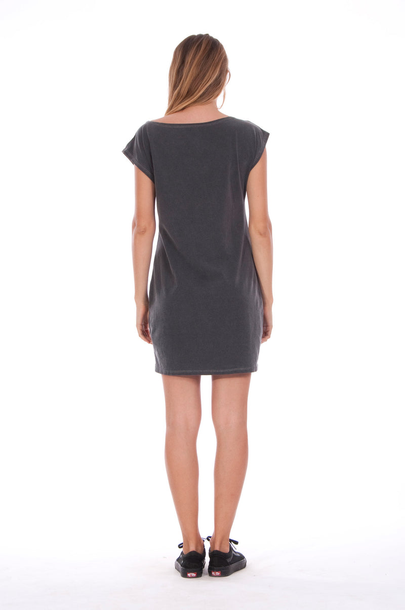 Live your life - Loose Fit - Boat Neck - Dress - Colour Anthracite -4