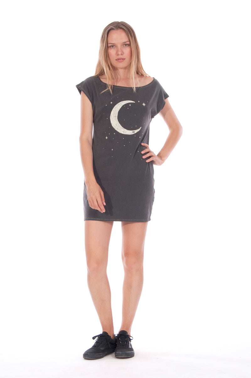 Moon - Loose Fit - Boat Neck - Dress - Colour Anthracite -1
