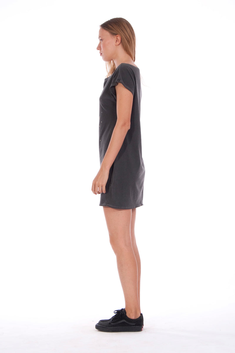Moon - Loose Fit - Boat Neck - Dress - Colour Anthracite -2