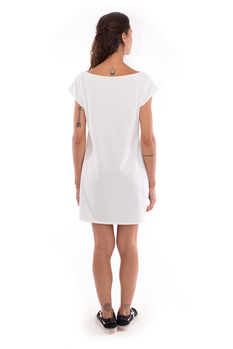 Raven - Loose Fit - Boat Neck - Dress - Colour White - 4