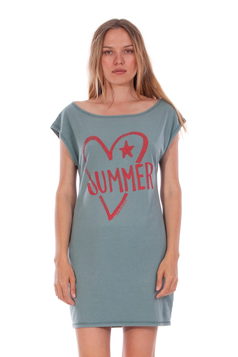 Summer Heart - Loose Fit - Boat Neck - Dress - Colour Green -2