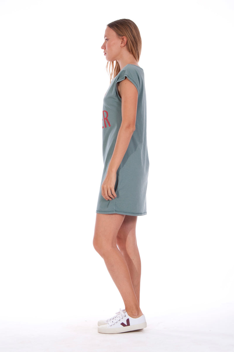 Summer Heart - Loose Fit - Boat Neck - Dress - Colour Green -3