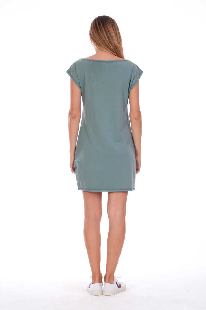 Summer Heart - Loose Fit - Boat Neck - Dress - Colour Green -4