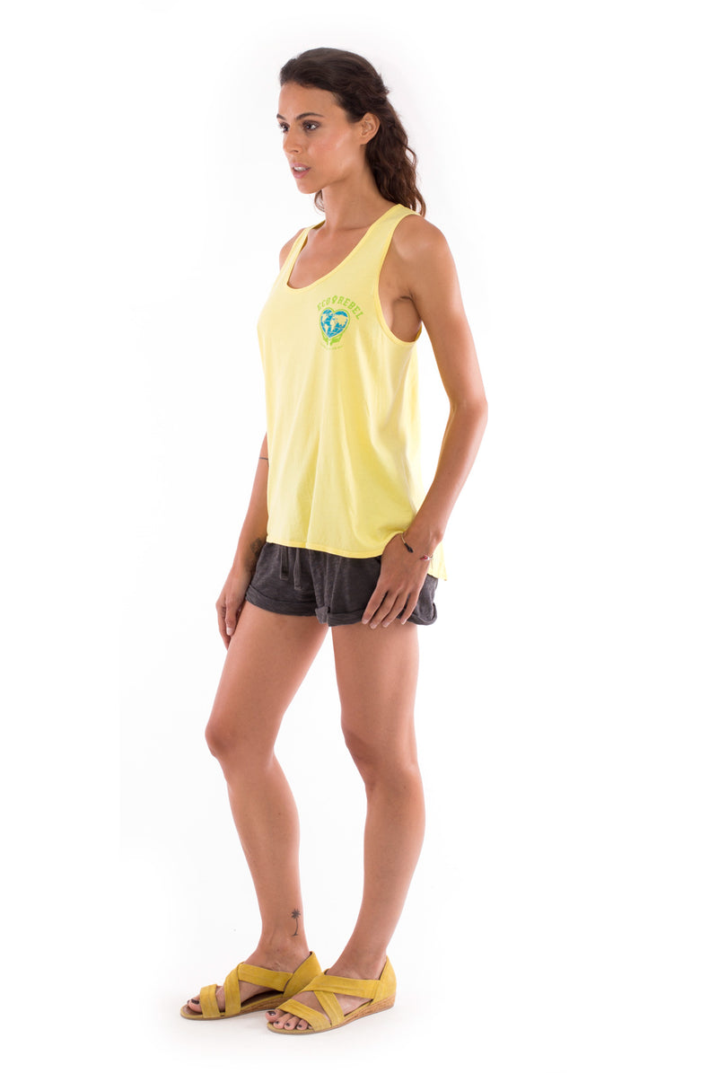 Eco rebel - Sleeveless - Tank top - Colour Yellow and Sunset mini shorts - Colour Anthracite 4