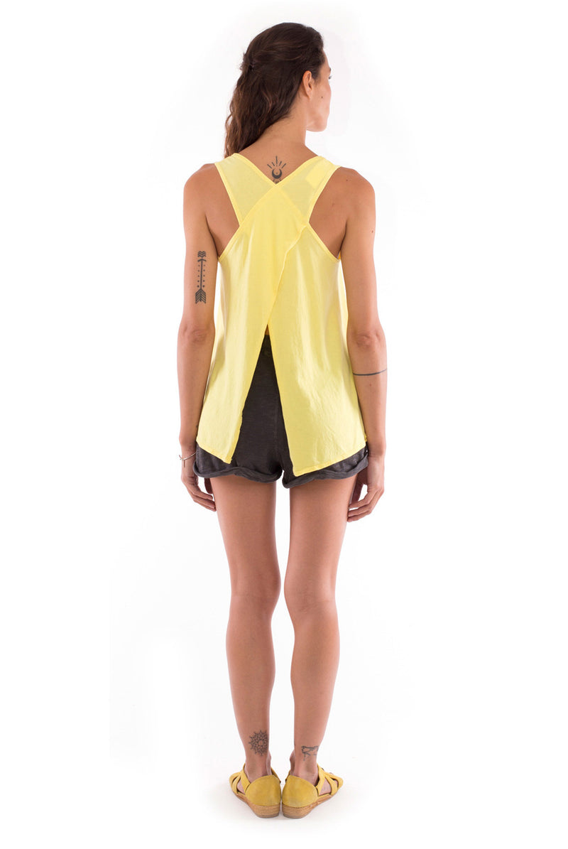 Eco rebel - Sleeveless - Tank top - Colour Yellow and Sunset mini shorts - Colour Anthracite 3