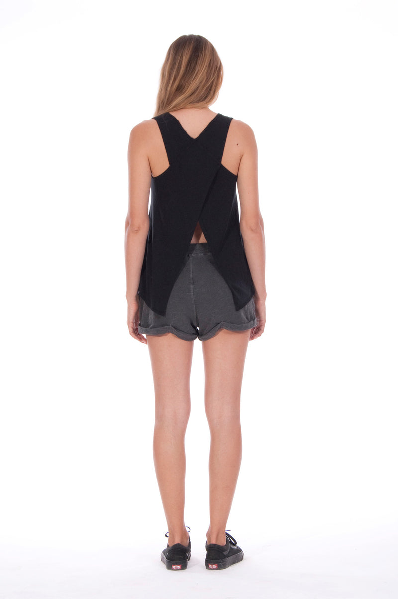 Girls just wanna - Sleeveless -Tank Top - Colour Black and Sunset Mini Shorts - Colour Anthracite 3