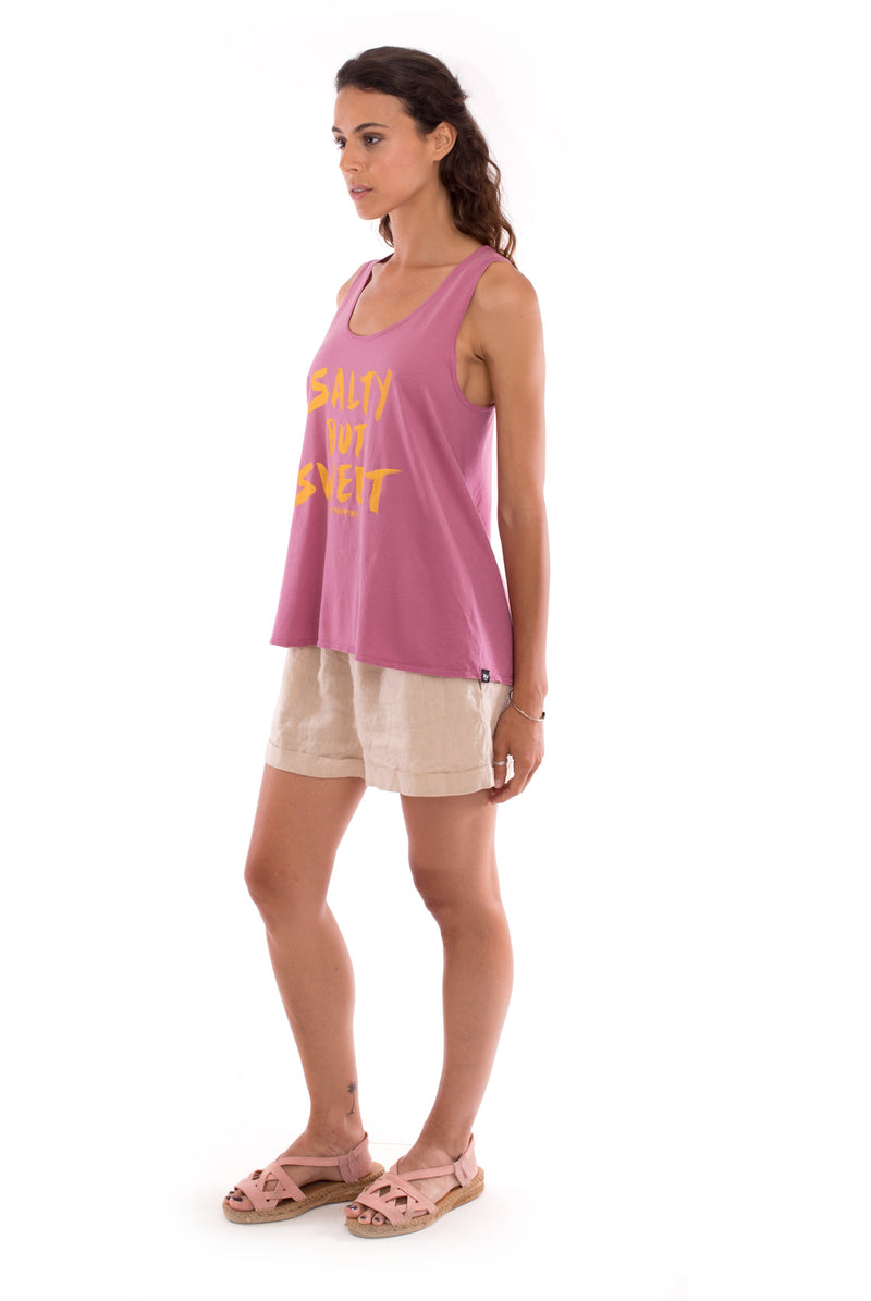 Salty but sweet - Sleeveless - Tank top - Colout Violet and Creta shorts - Colour Sand 4