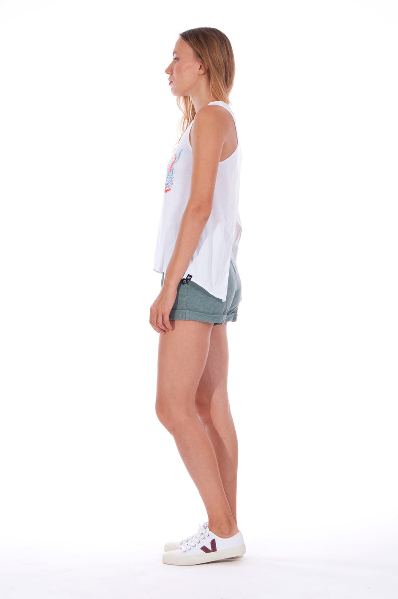Save the corals - Sleeveless - Tank Top - Colour White and Sunset Mini Shorts - Colour Green 4