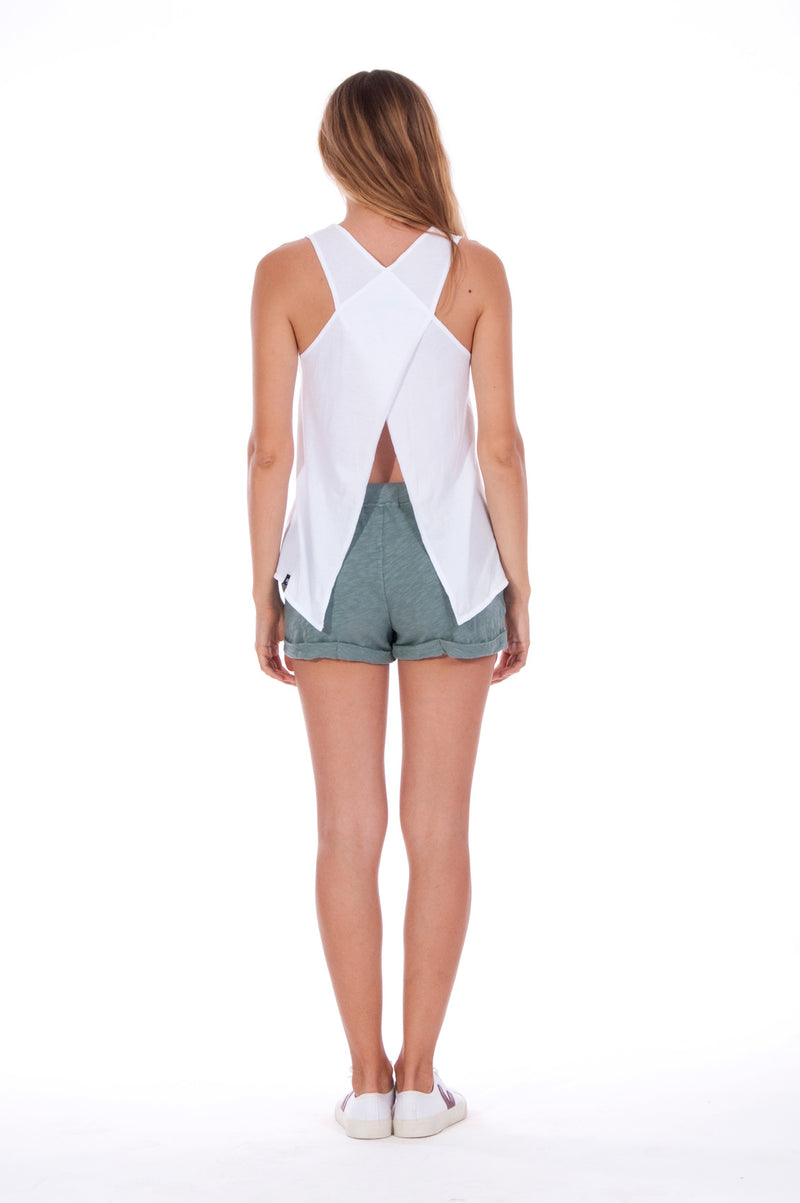 Save the corals - Sleeveless - Tank Top - Colour White and Sunset Mini Shorts - Colour Green 3