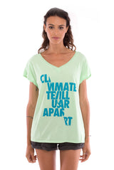 Climate will tear us apart - V Neck - Loose Fit - Top - Colour Mint and sunset mini shorts - Colour Anthracite -2