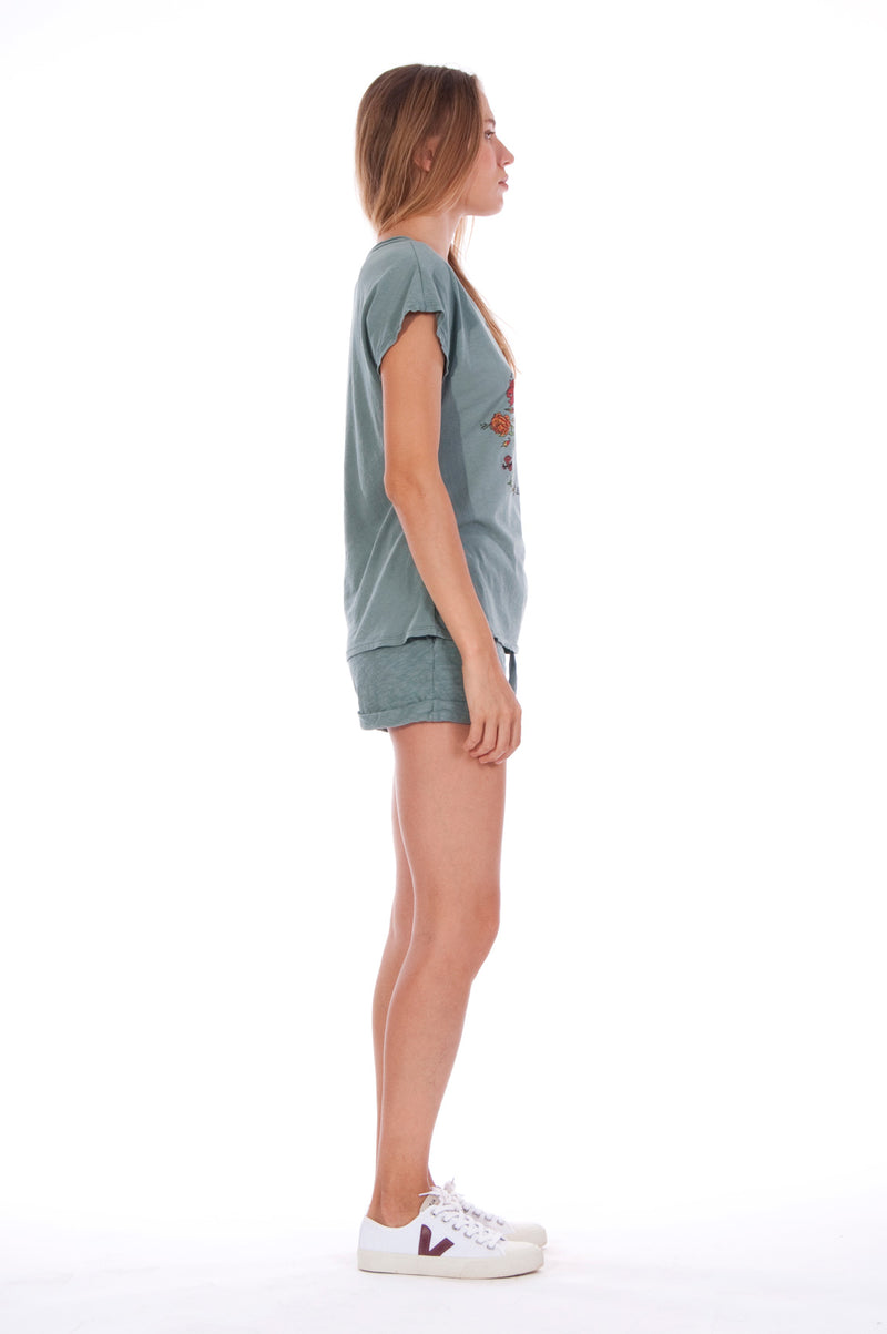 Natural Rebel - V Neck - Loose Fit - Top - Colour Green and sunset mini shorts - Colour Green - 3