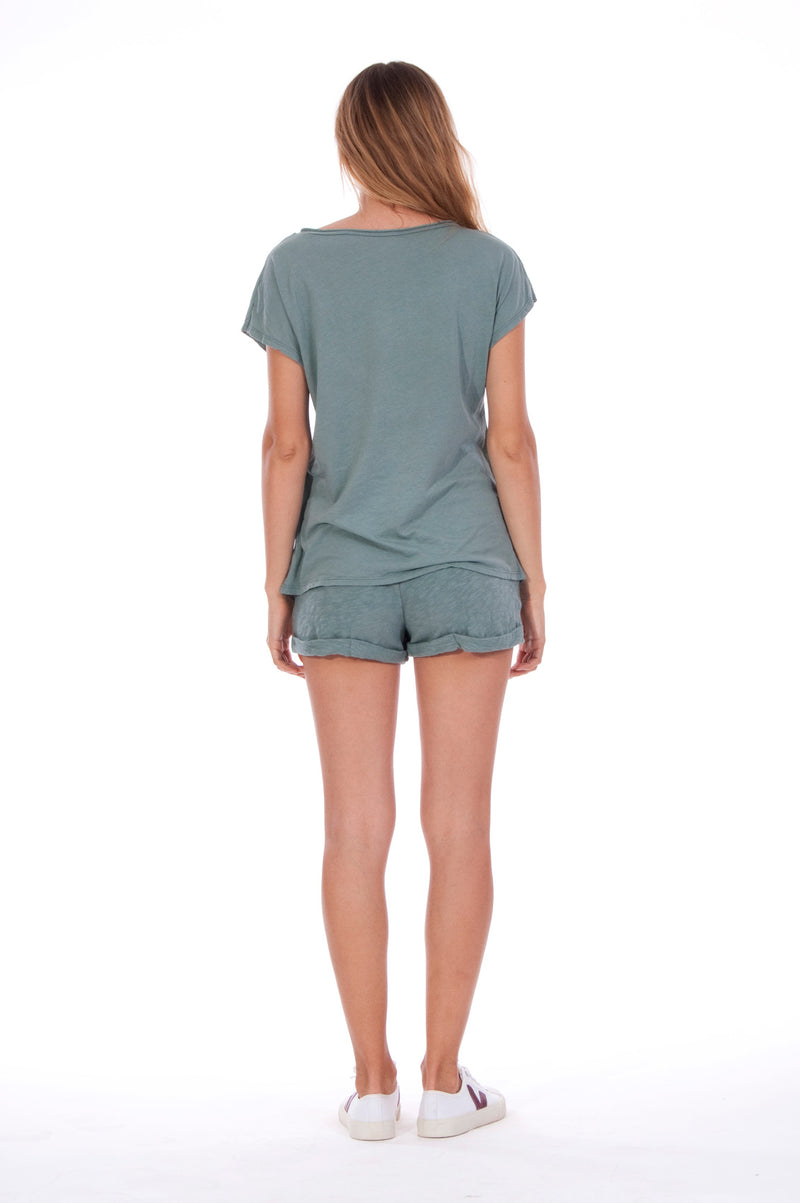Natural Rebel - V Neck - Loose Fit - Top - Colour Green and sunset mini shorts - Colour Green - 4