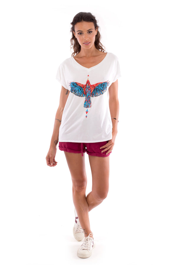 Raven - V Neck - Loose Fit - Top - Colour White and sunset mini shorts - Colour Garnet -1