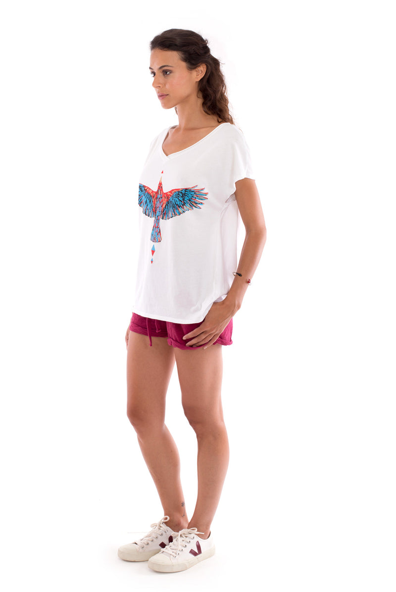 Raven - V Neck - Loose Fit - Top - Colour White and sunset mini shorts - Colour Garnet -3
